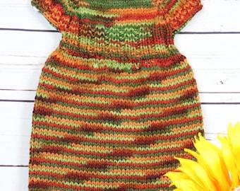Fall knit dress, newborn knits, autumn colors, baby dress, infant knits