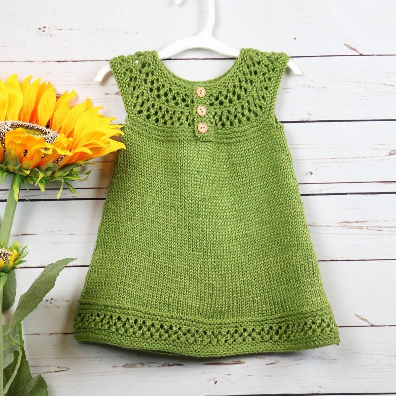 81ad6419b Green sleeveless toddler dress handknit 2T little girl dress