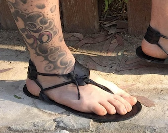 Andros Barefoot Sandals in black, Men Sandals, Handmade Sandals, Black Sandals, Boho Sandals, Summer Sandals, Beach Sandals, Men Barefoot