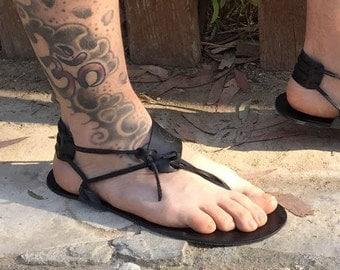 Barefoot Sandals in black, Men Sandals, Handmade Sandals, Black Sandals, Boho Sandals, Summer Sandals, Beach Sandals, Men Barefoot, ANDROS1