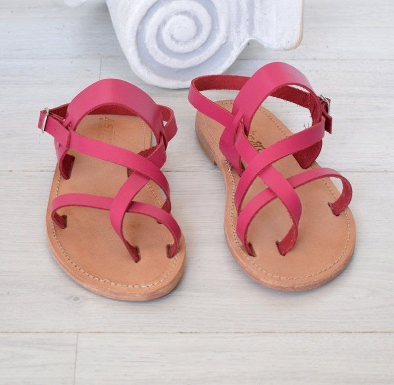 Unisex Handmade Sandals with Genuine Leather in fuchsia color Leather Sandals Classic Greek Sandals Handmade Sandals