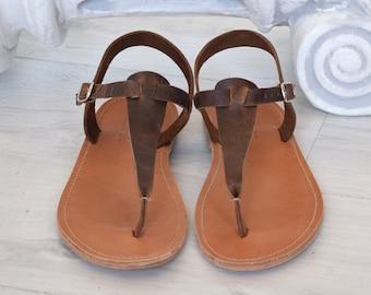 Skopelos marron T bar sandales hommes, sandales Spartiates, sandales astir, Romains sandales, sandales gladiateur, sandales en cuir grec antique