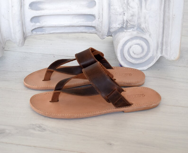 acc1c1fbca3 Handmade Genuine Leather brown sandals Flip Flop Sandals