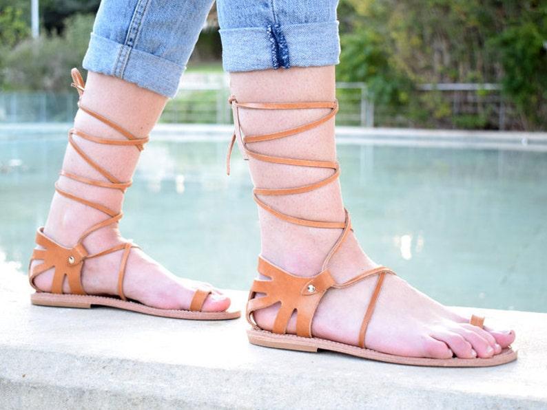 3f49efb2be11 Ancient Greek leather sandals Tie up Greek sandals Natural