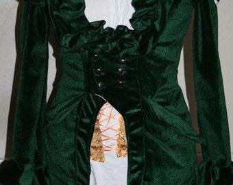 green velvet coat patterned lining