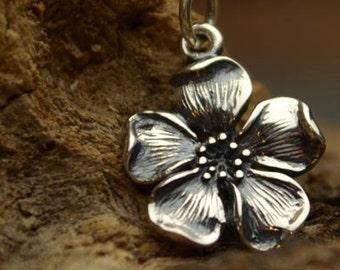 Sterling Silver Cherry Blossom Flower Charm