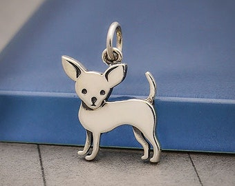 GiftJewelryShop Ancient Style Silver Plate Chihuahua Dog from Heaven Floral Hoop Charm Pendant Necklace