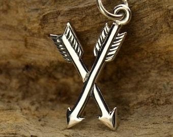 Sterling Silver Crossed Arrow Charm