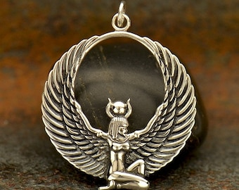 Sterling Silver Winged Isis Isis Pendant,Kneeling Isis jewelry Egyptian Goddess Necklace Medium Goddess Isis Necklace