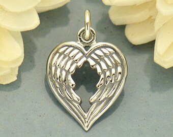Dangly Heart Dropper 4 Angel wing heart charms silver plated tone