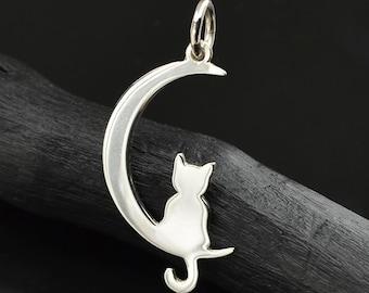925 SS Charm 1 pc 9*14mm Sterling Silver Tiny Cute Kitty Cat Kitten Charm