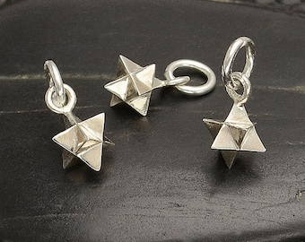 Sterling Silver Merkaba Star Charm 925 Sterling Silver Merkabah Pendant Merkaba Necklace. Merkaba Star Jewelry Sterling Silver