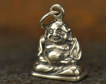 Sterling Silver Small Happy Buddha Charm