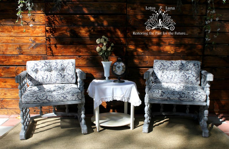 Beautiful Bugget Accent Chairs.Stone Oxalis Pair Of Vintage Accent Chairs