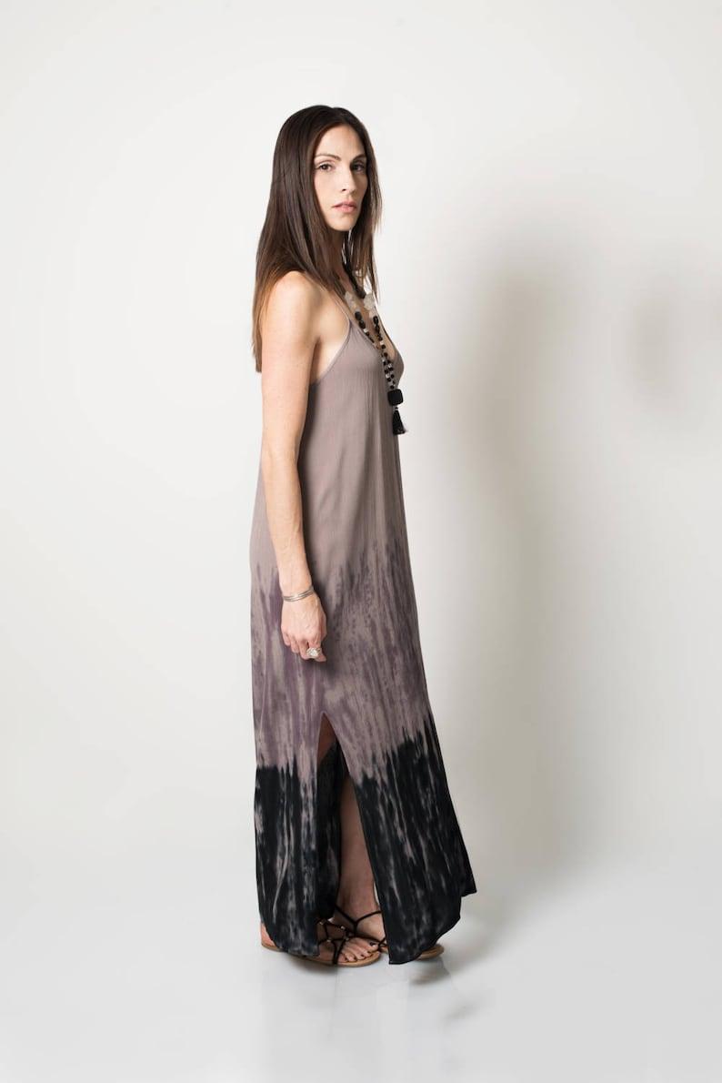 89a932604 Boho maxi dress Grey to black ombre dress Boho dress Tie | Etsy