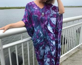 Maxi dress -  Purple caftan dress -Tie dye boho dress -  purple boho dress - Loose purple dress -purple maxi dress - ultraviolet dress