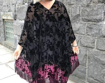Velvet boho kimono - Black to purple ombre kimono-  Black velvet jacket -  Black floral jacket -velvet kimono jacket- boho velvet kimono