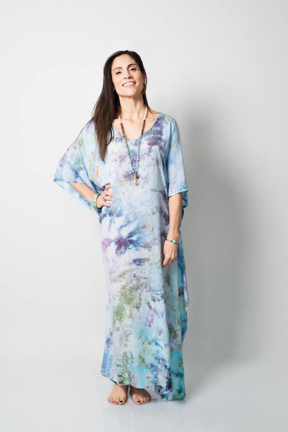 Pastel Caftan Dress Tie Dyed Dress Beach Coverup Long Boho Etsy
