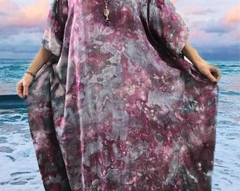 Tie dye maxi dress - Purple caftan dress - Tie dye boho dress - Purple maxi dress  - Colorful maxi dress- Purple boho dress
