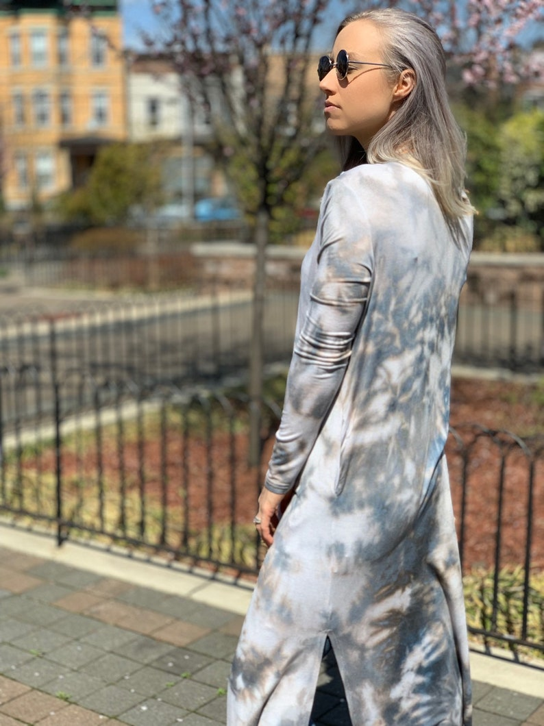 Tie dyed boho jacket long grey cardigan Tie dyed duster Grey long cardigan Grey open cardigan long boho jacket Tie dyed cardigan