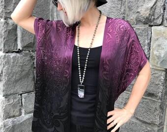 Ombre kimono -  Purple Black boho kimono - Purple burnout kimono -Purple boho jacket-purple kimono jacket-Purple boho kimono-ultraviolet top
