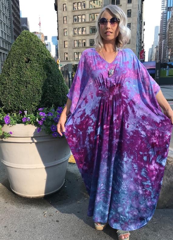 Curvy Style Boho Maxi Dress Purple Tie Dye Dress with Pockets Custom Color Options!