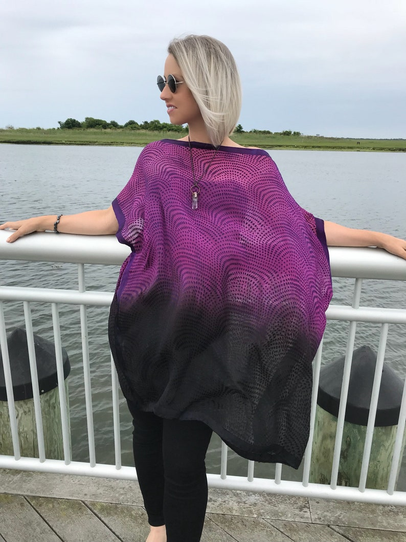 3204b00ea1d Sheer purple caftan Magenta and black ombre tunic Ombre