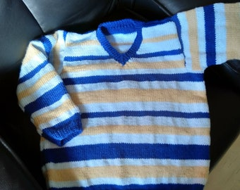 Hand knitted striped jumper