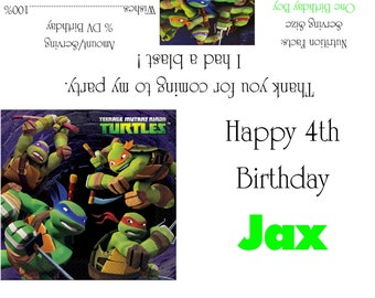 Teenage Mutant Ninja Turtles Candy Bar Wrappers/Birthday Party Favors