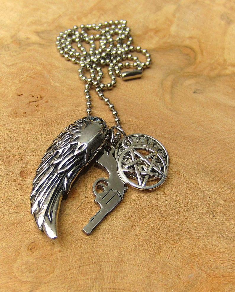 0e1e212bb9d0 Supernatural Angel Wing Necklace Tattoo Anti Possession