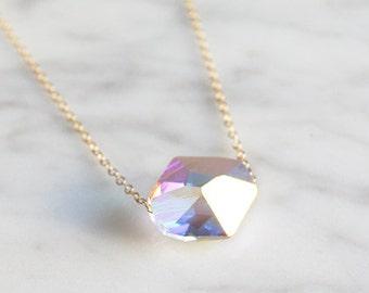 White shiny necklace. Modern minimalist jewelry for everyday.