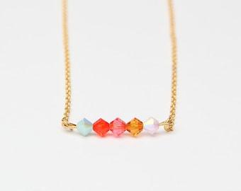 necklace crystal swarowski chain gold colorful minimalist - DUSK