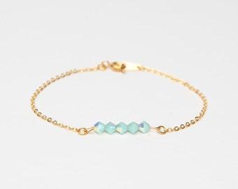 bracelet crystal swarovski chain gold blue green minimalist