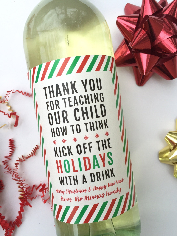 Christmas Teacher Gift Wine Label Teacher Wine Label Teacher | Etsy