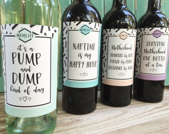 New Mom Wine Labels Mommy Milestone Gift for New Mom Baby Shower Wine Labels New Mom Survival Kit First Time Mom Gift Printed Wine Labels