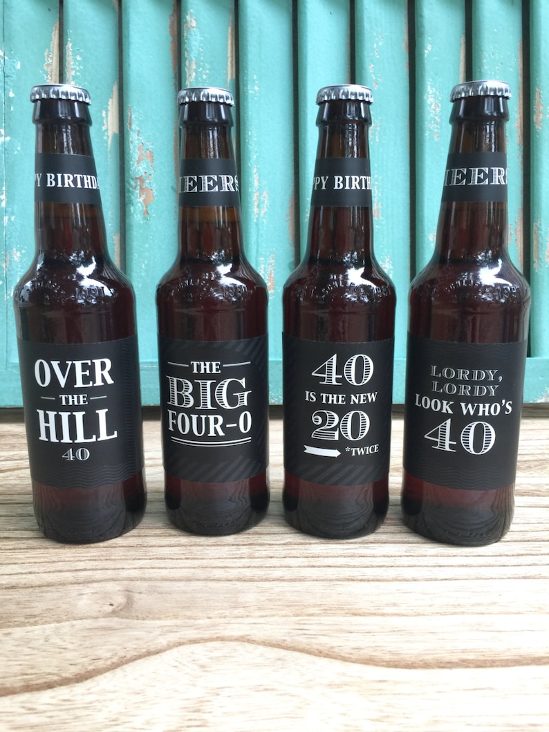 40th Birthday Gift Over The Hill Custom Beer Bottle