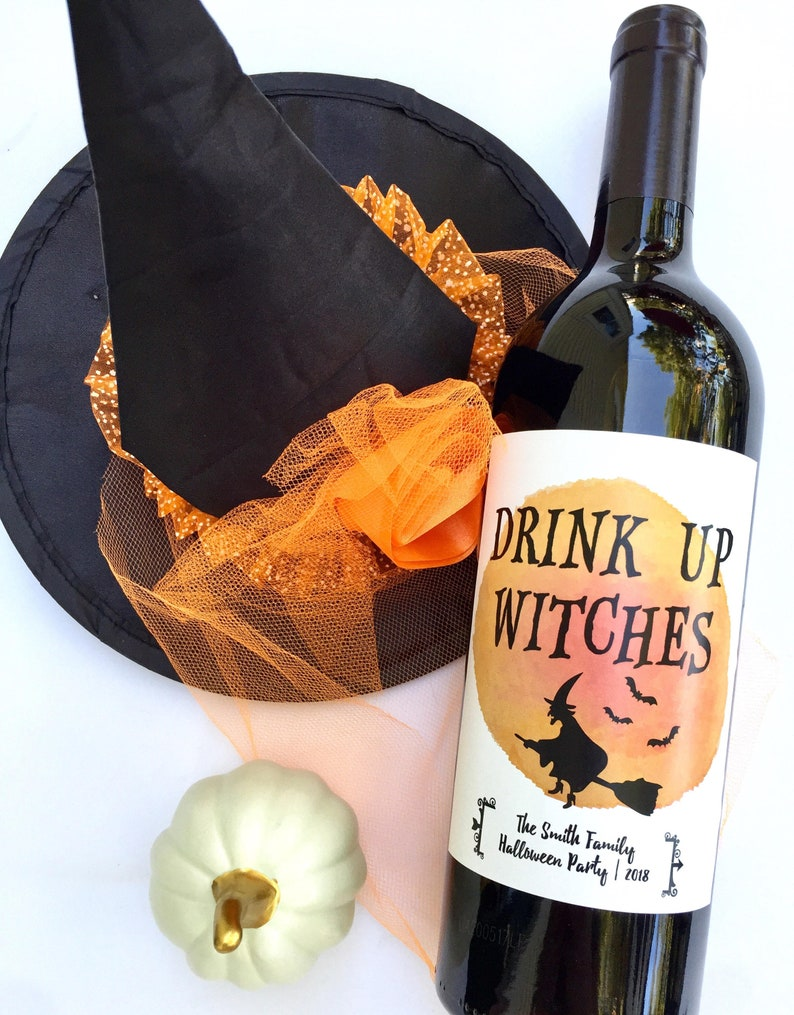 Halloween Wine Labels, Drink Up Witches Wine, Eat, Drink And Be Scary,  Halloween Party Decorations, Halloween Party Ideas, Halloween Favors
