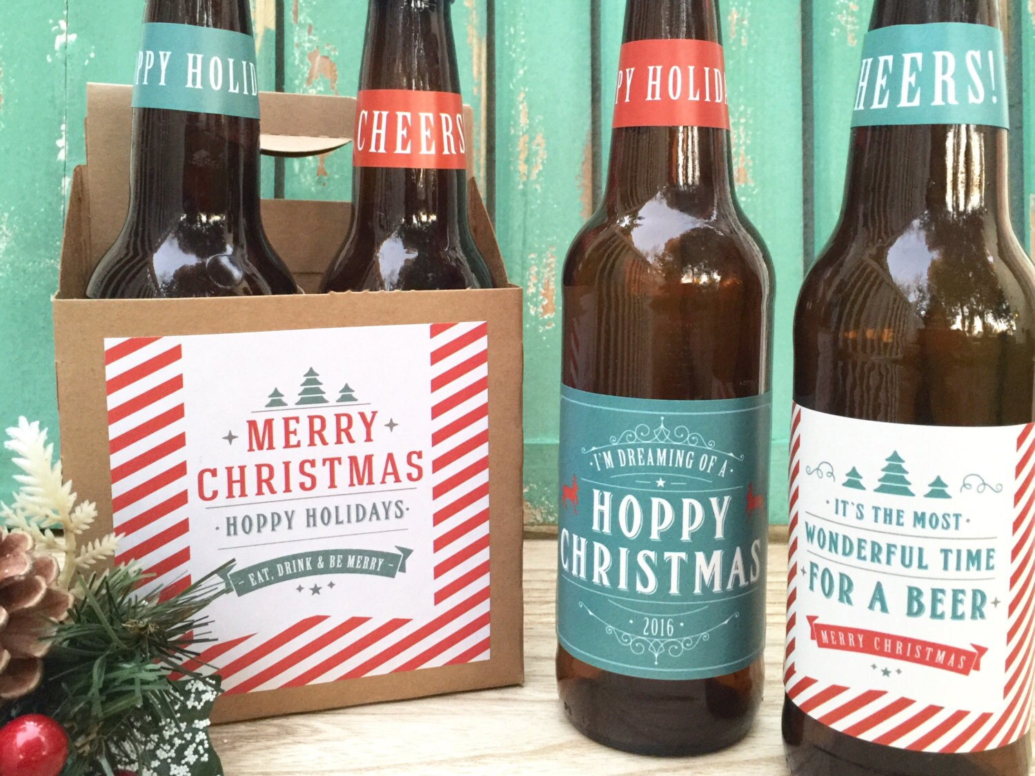 Christmas Beer Labels Hoppy Holidays Christmas Gifts | Etsy