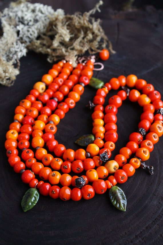 Style vintage orange fruit Lampwork Glass Bead Boucles d/'oreilles Green Leaf Dangle Drop