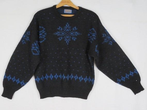 Vintage 50s Pendleton Snowflake Sweater M Black Bl