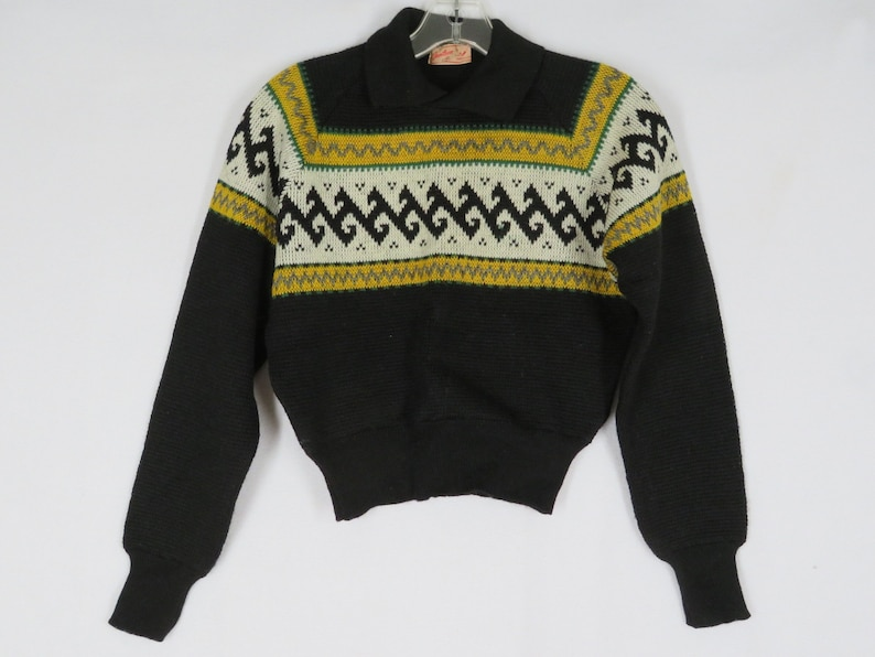 923600496 Vintage 40s Jantzen Ski Sweater 34 Black Yellow White Wool