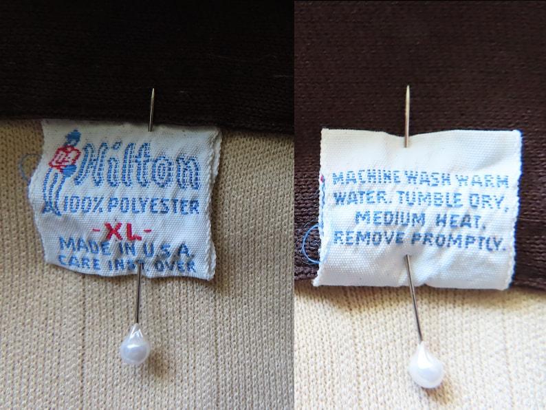 Vintage 70s Bowling Shirt XL Tan Brown Polyester Knit E-Z Feed Back Print