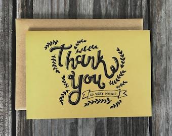 Wedding Thank You Card Set, Hand Drawn Thank You Card Pack, Bridal Shower Thankyou Cards Set