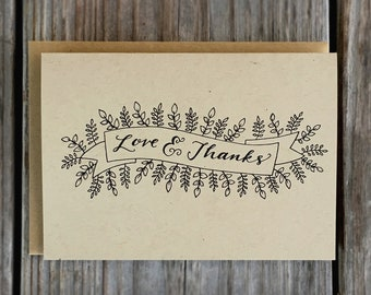Love and Thanks Wedding Card Set, Rustic Thank You Card Pack, Wedding Thank You Cards