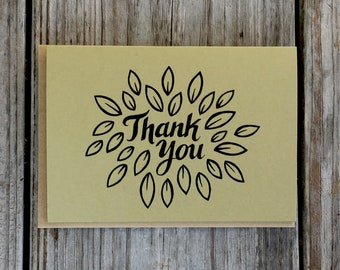 Small Leaves Wedding Thank You Card Set, Shower Thank You Note Cards, Hand Drawn Boxed Card Set