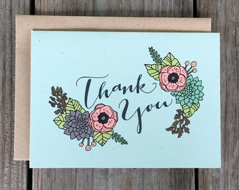 Thank You Card, Floral Thank You Card, Single Thank You Card