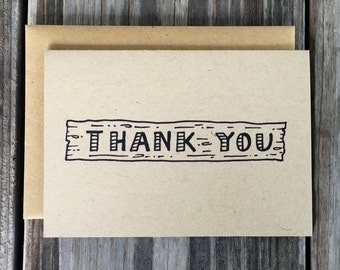Wood Thank You Card Set, Fancy Handmade Note Cards, Unique Rustic Thank You Card Set