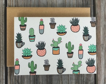 Succulent Thank You Card Set, Cactus Thank You Note Cards, Fancy Handmade Card Set