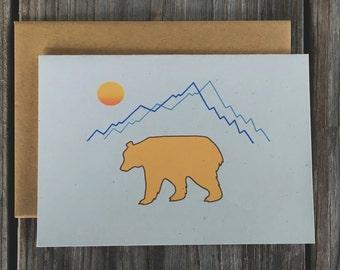 Bear Mountain Note Card Set, California Bear Thank You Cards, Mountain Note Card Set