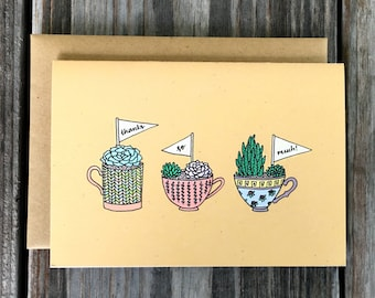Succulent Thank You Card Set, Handmade Thank You Cards, Thank You Card Set